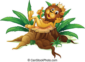 A stump with the king of the jungle - Illustration of a...