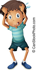 A boy scratching his head - Illustration of a boy scratching...