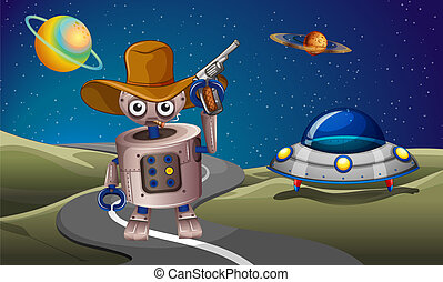 A robot at the road with a spaceship in the outerspace -...