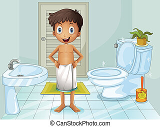 A boy in the toilet - Illustration of a boy in the toilet