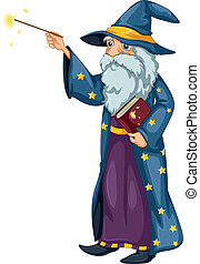 A wizard holding a magic wand and a book - Illustration of a...