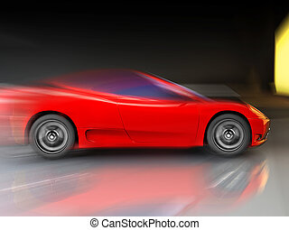 very fast sport car - red sport fast car over mirror; three...