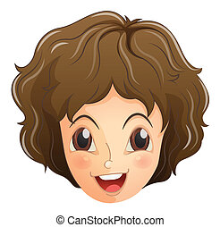 A face of a smiling teenager - Illustration of a face of a...