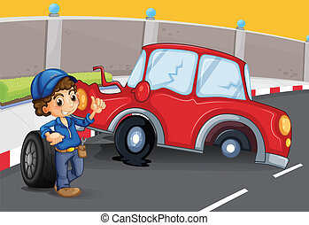 A boy near the car accident at the road - Illustration of a...