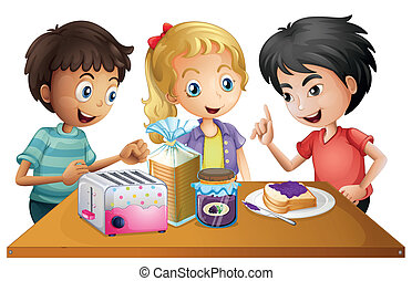 Kids preparing their snacks - Illustration of the kids...