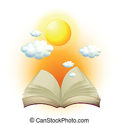 A book with a story about the sun - Illustration of a book...