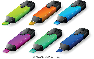 Six colorful markers - Illustration of the six colorful...
