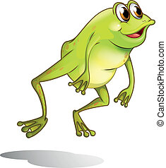A green frog hopping - Illustration of a green frog hopping...