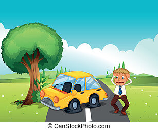 A car bumping the tree at the road - Illustration of a car...