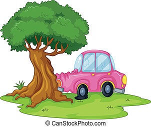 A pink car bumping the giant tree - Illustration of a pink...