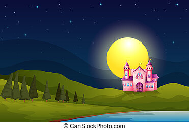 A pink castle in the hill - Illustration of a pink castle in...