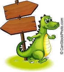 A crocodile beside the wooden empty arrowboard -...