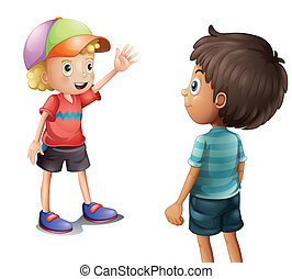 A boy waving at his friend - Illustration of a boy waving at...