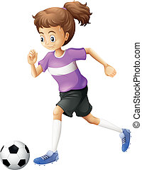A lady playing soccer - Illustration of a lady playing...
