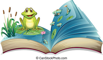 A book with a story of the frog in the pond - Illustration...