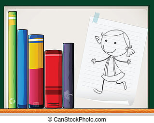 Illustration of a piece of paper with a drawing of a girl...