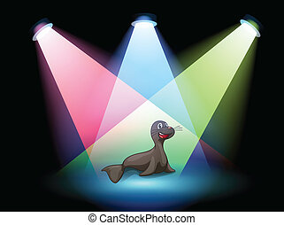 A seal in the middle of the stage - Illustration of a seal...