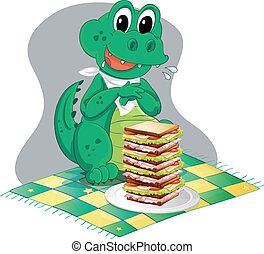 A hungry crocodile in front of a big pile of sandwich -...