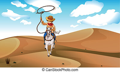 A cowboy with a horse at the desert - Illustration of a...