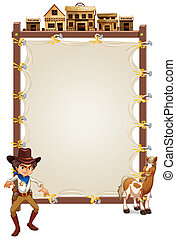 A cowboy and a horse in front of an empty signage -...