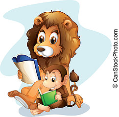 A monkey and a lion reading books - Illustration of a monkey...
