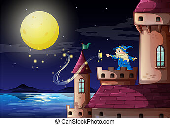 An old wizard at the castle port - Illustration of an old...