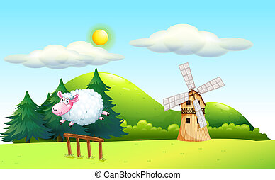 A sheep jumping at the fence with a windmill at the back -...