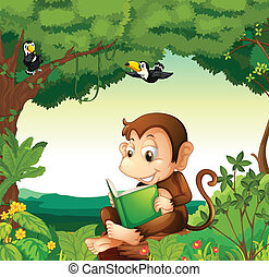 A monkey reading a book at the forest - Illustration of a...