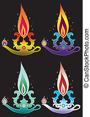 Indian Oil Lamp illustration style