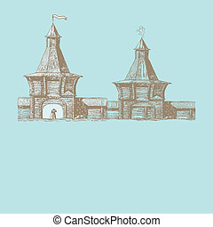 Old town vector illustration
