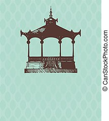 Vintage card with old pavilion.
