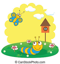 Cute spring card with caterpillar and butterfly
