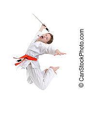 Karate Kid - jumping boy with japanese blade