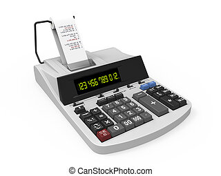 Calculator with Printed Receipt isolated on white...