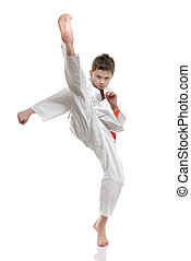 Karate Kid - in your face kick - boy practicing self defense