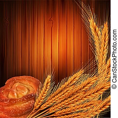 wheat and bread roll - Vector golden ears of wheat and bread...