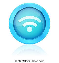 Blue vector wifi button