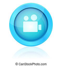 Blue vector video button