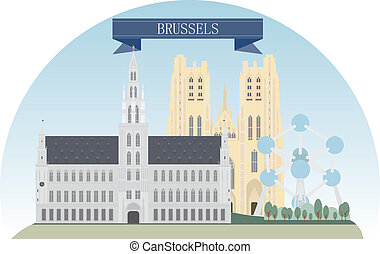 Brussels  - Brussels, Belgium. Vector for you design