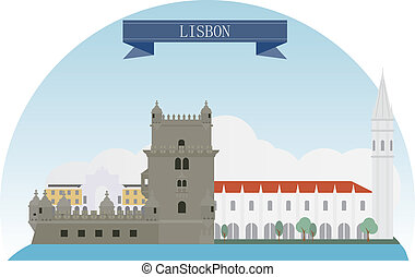 Lisbon, Portugal Vector for you design
