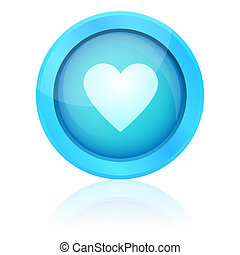Blue vector heart button