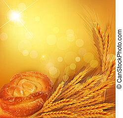 background with gold ears of wheat, bun, sunrays