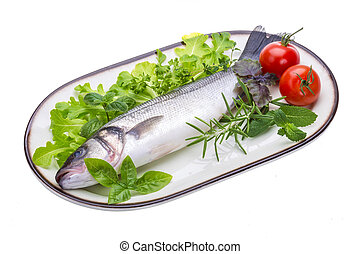 Raw seabass with rosemary and herbs
