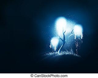 magic shining tree - night magic shining tree on a dark...
