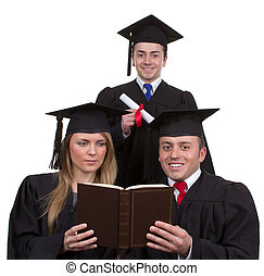 Three graduates together in a triangle, isolated on white