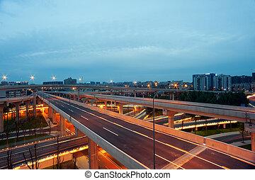 China,  Overpass,  Chengdu, noturna, cidade