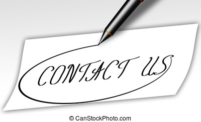 contact us business sign - contact us written down with pen...