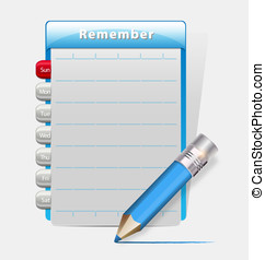 Remember blank diary with a blue pencil - Illustration of...