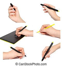isolerat, räcker, blyertspenna, drar, något