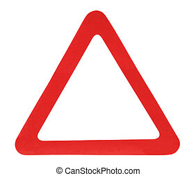Red Triangle - Red triangle sign isolated over white...